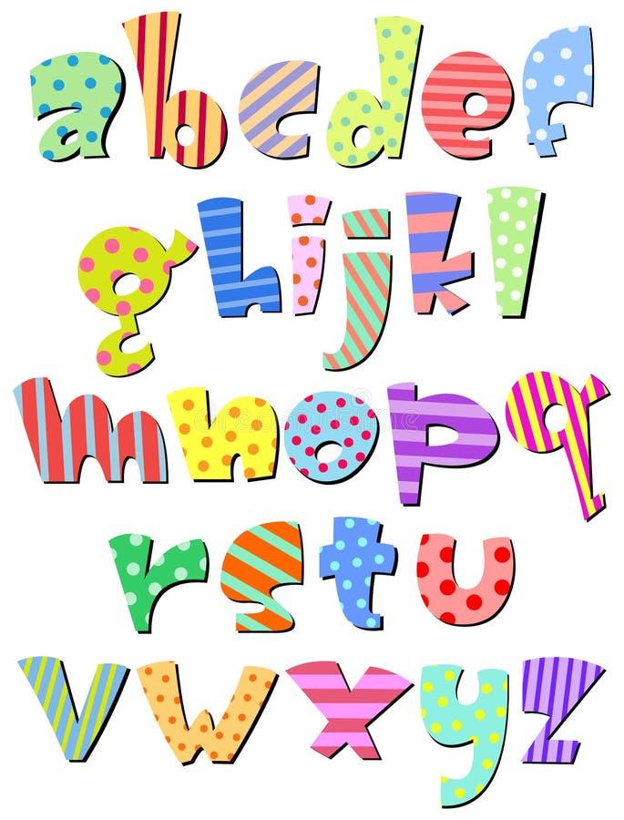 Alfabeto comico minuscolo illustrazione di stock