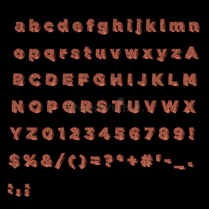 Alfabeto completo feito do cobre ilustração do vetor