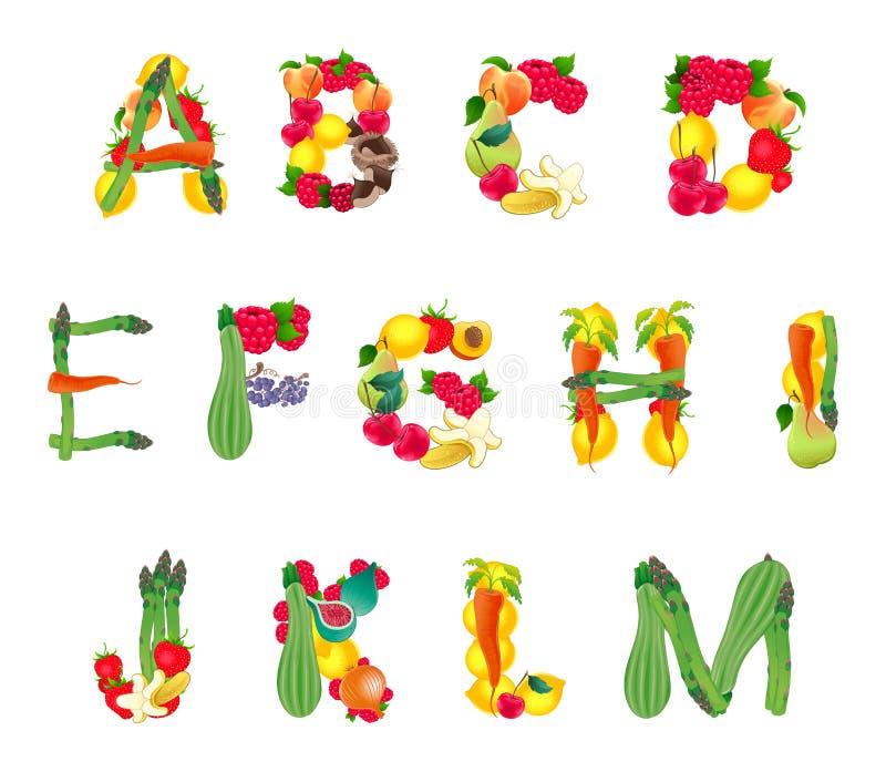 Alfabeto composto por frutas e legumes, primeira parte ilustração royalty free