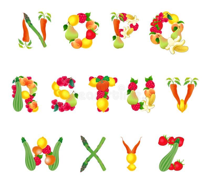 Alfabeto compuesto por las frutas y verduras, segunda parte ilustración del vector