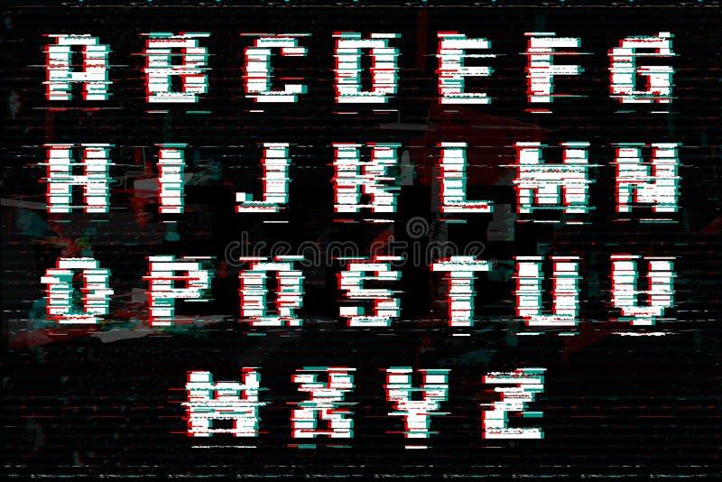 Alfabeto con efecto de la interferencia y del ruido Estilo perfecto para los ejemplos digitales Fuente abstracta de la tecnología libre illustration