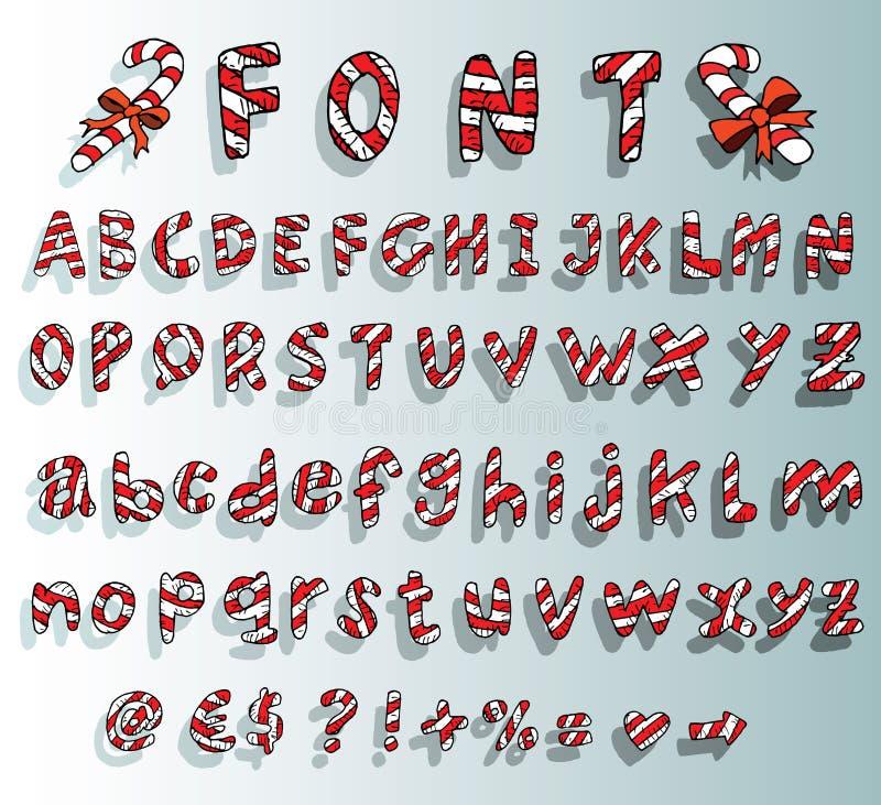Alfabeto con la fuente del bastón de caramelo de la Navidad ilustración del vector