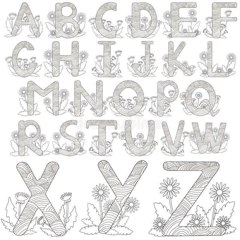 Alfabeto con las flores Letras blancos y negros stock de ilustración