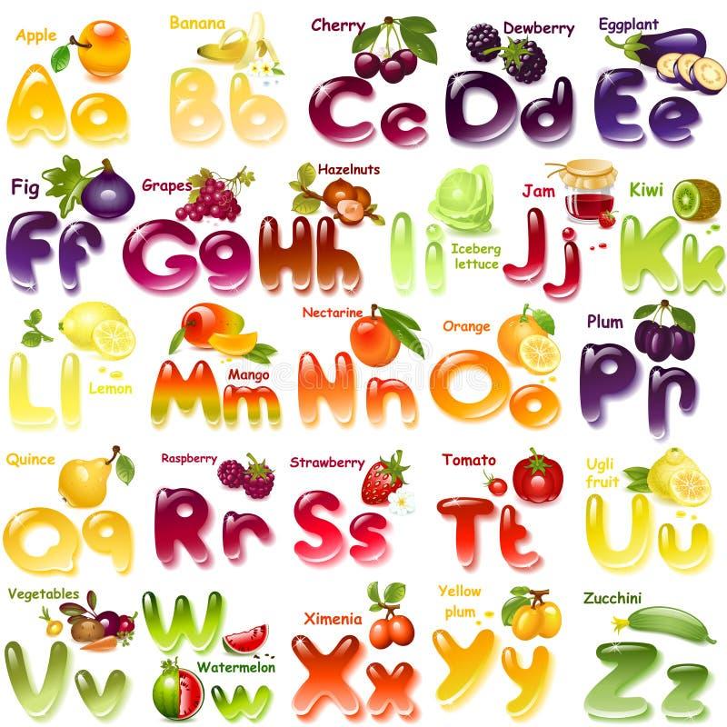 Alfabeto con las frutas stock de ilustración