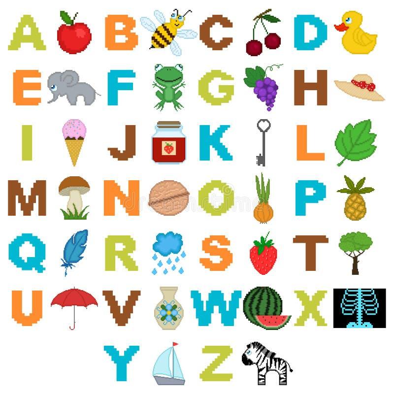 Alfabeto con las imágenes en el estilo de  ilustración del vector