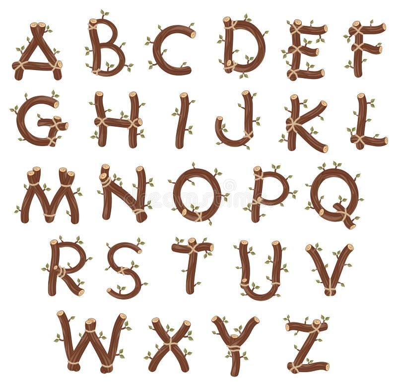 Alfabeto Con Las Ramificaciones Y Las Hojas. Ilustración del Vector ...
