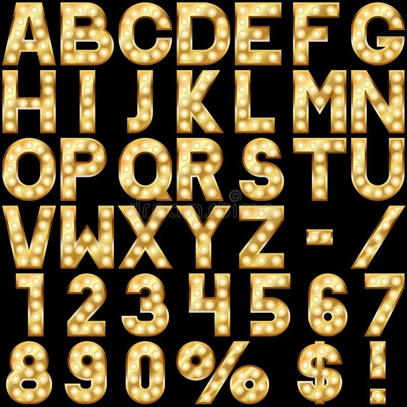 Alfabeto con le lampade di manifestazione illustrazione vettoriale