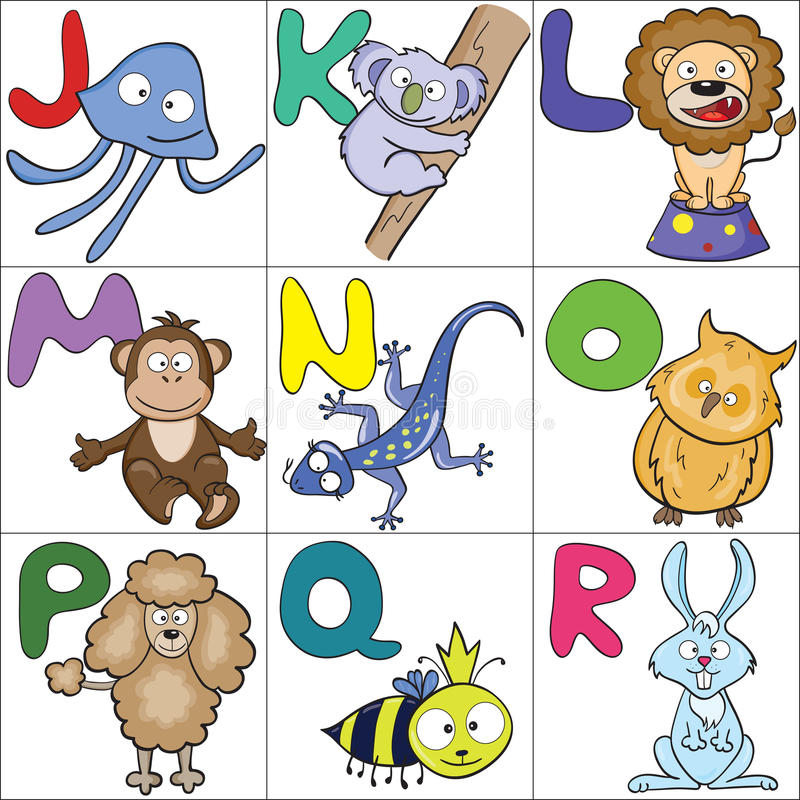 Alfabeto con los animales 2 de la historieta foto de archivo