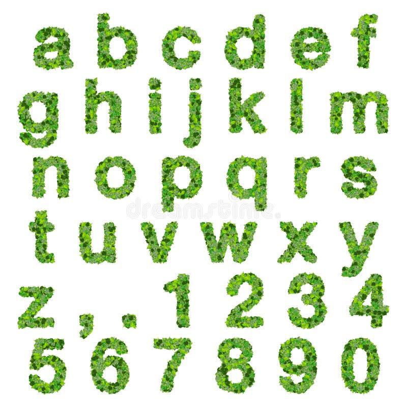 Alfabeto Con Los Números Hechos De Las Hojas Del Verde Aisladas En ...