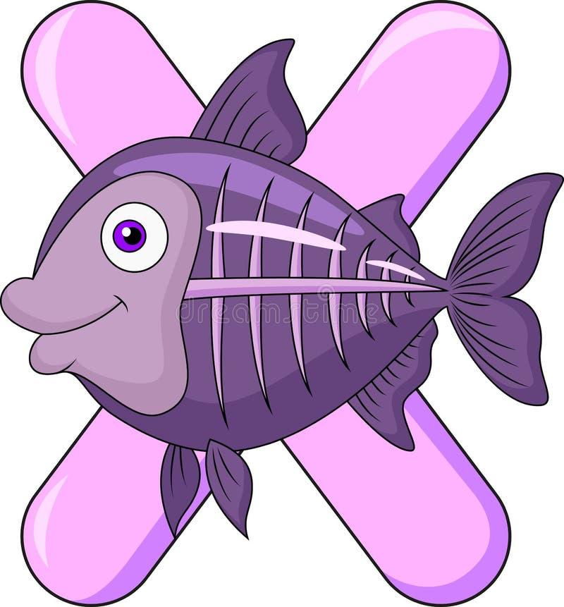 Alfabeto X con los pescados del rayo de X ilustración del vector