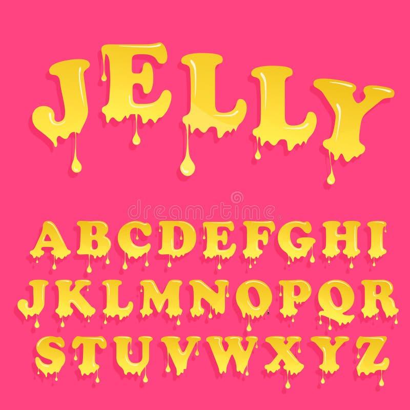 Alfabeto cor-de-rosa da geleia Projeto lustroso do cabeçalho Letras dos doces do vetor ilustração do vetor