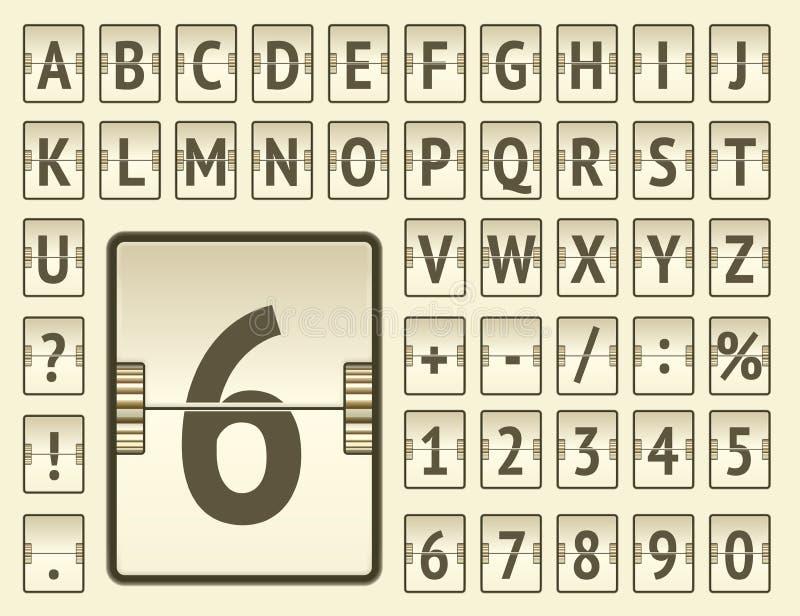Alfabeto corajoso da placa mecânica da aleta de Stempunk para a exibição da informação e do calendário da partida Ilustra??o do v ilustração do vetor