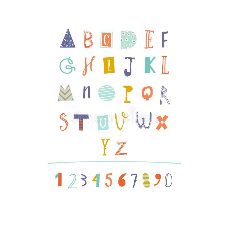 Alfabeto cortado papel dibujado mano en vector ilustración del vector