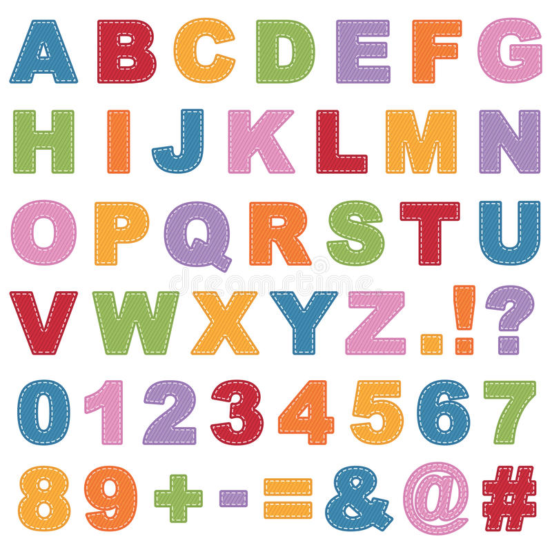 Alfabeto costurado ilustração royalty free