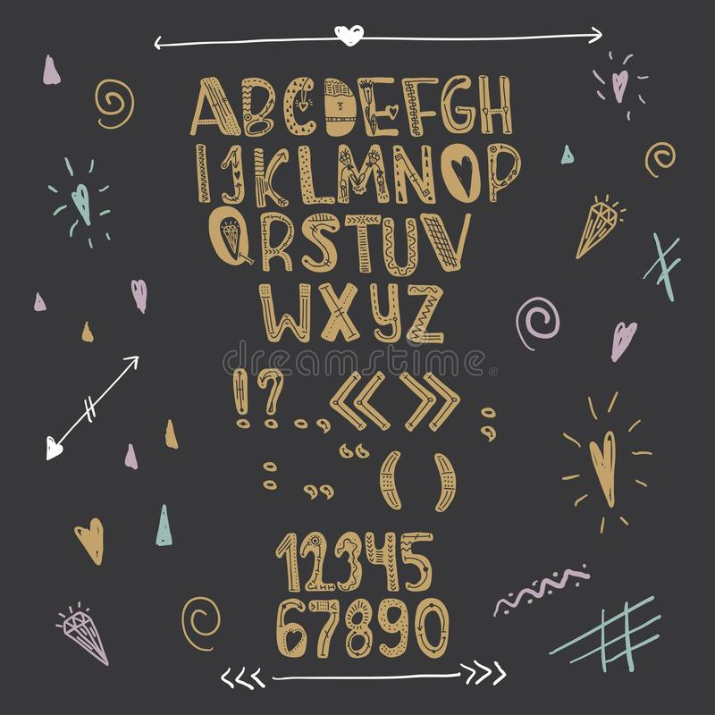 Alfabeto creativo dibujado mano del amor Letras del oro en un fondo negro Vector stock de ilustración