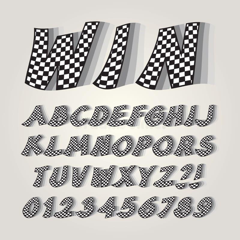 Alfabeto a cuadros y números de la bandera imagen de archivo