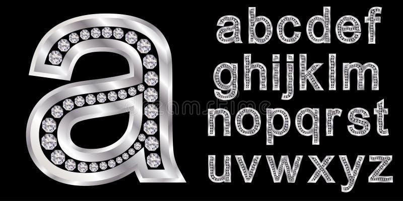 Alfabeto d'argento con i diamanti, lettere da A alla Z illustrazione di stock