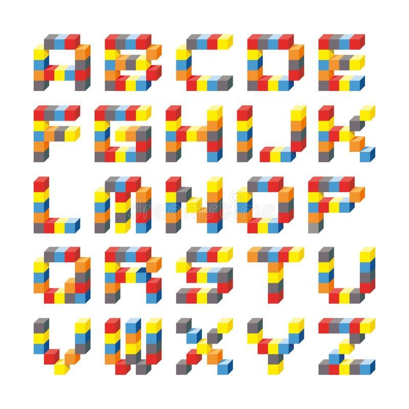 alfabeto 3D dei cubi o dei mattoni colorati del quadrato illustrazione di stock