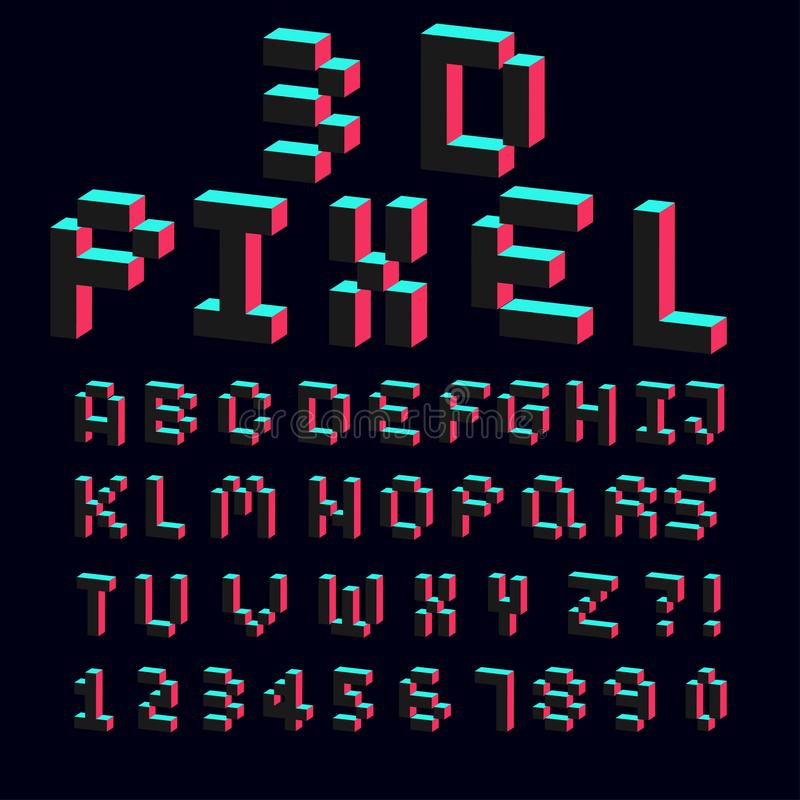 alfabeto 3d feito da fonte do projeto do pixel ilustração do vetor