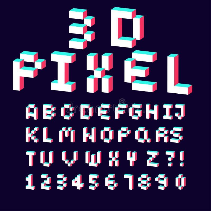 alfabeto 3d feito da fonte do projeto do pixel ilustração stock