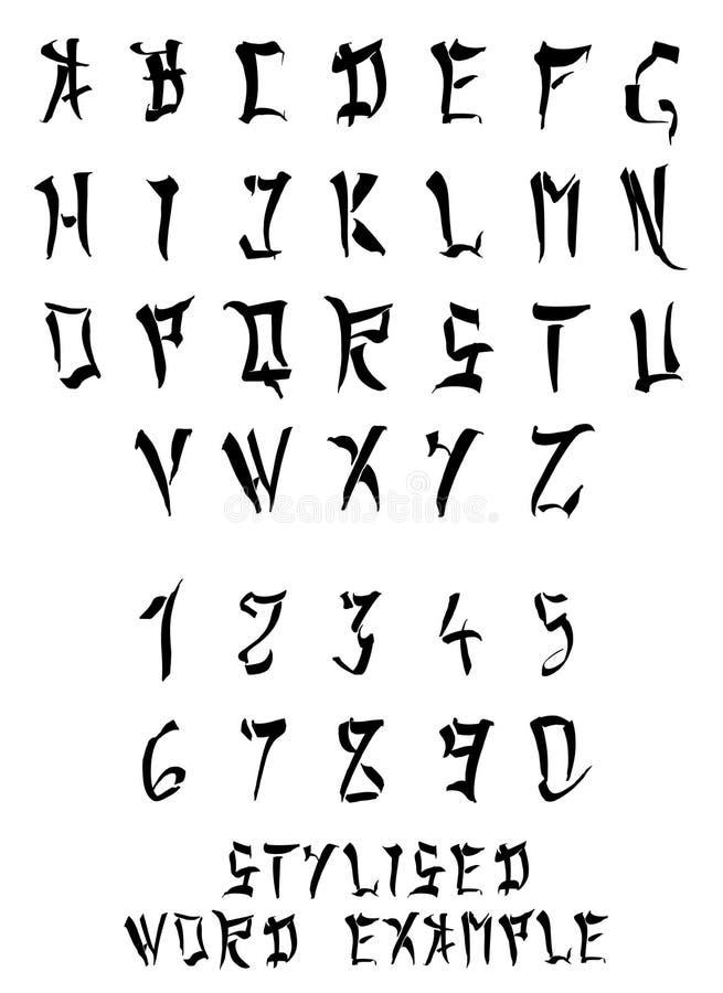 Alfabeto d'imitazione e numeri occidentale cinese/giapponese illustrazione vettoriale