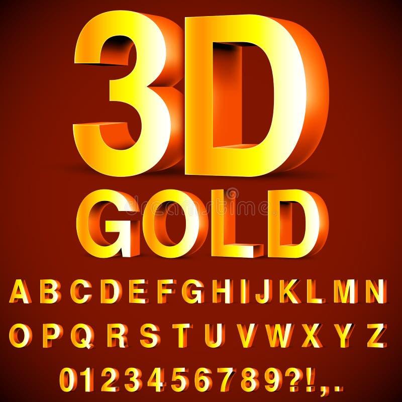Alfabeto 3D y números de oro ilustración del vector