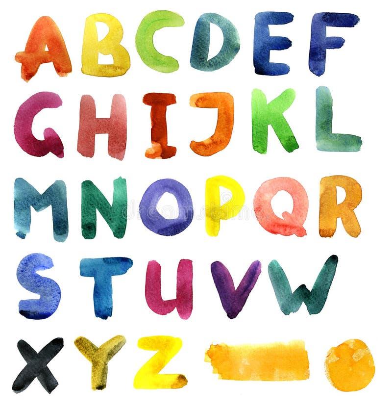 Alfabeto da aguarela ilustração do vetor