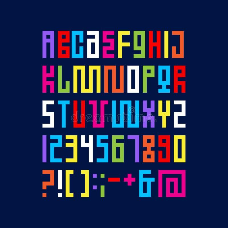 Alfabeto da arte do pixel As letras coloridas consistem nos módulos Letras das tiras ilustração do vetor