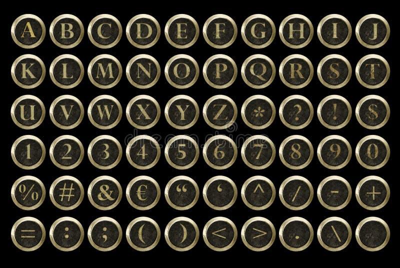 Alfabeto da chave da máquina de escrever de Steampunk imagem de stock