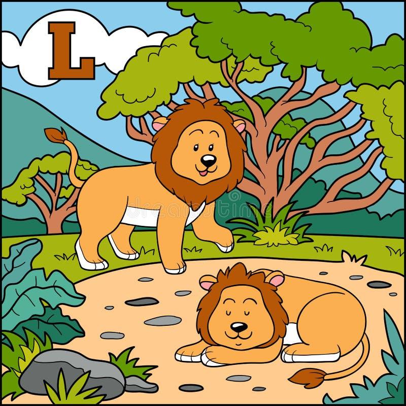 Alfabeto da cor para crianças: letra L (leão) ilustração stock
