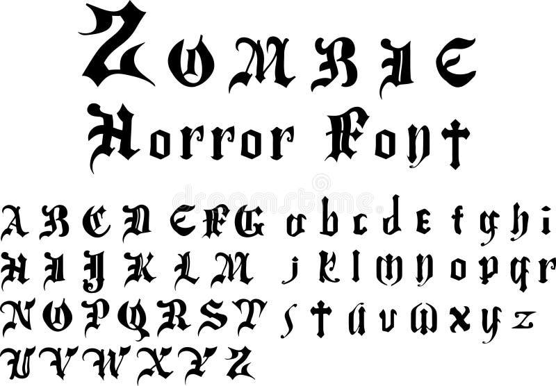 Alfabeto da fonte do horror do zombi foto de stock royalty free