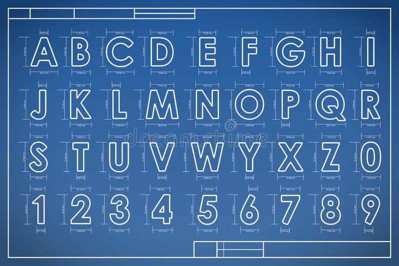 Alfabeto da fonte do modelo ilustração do vetor