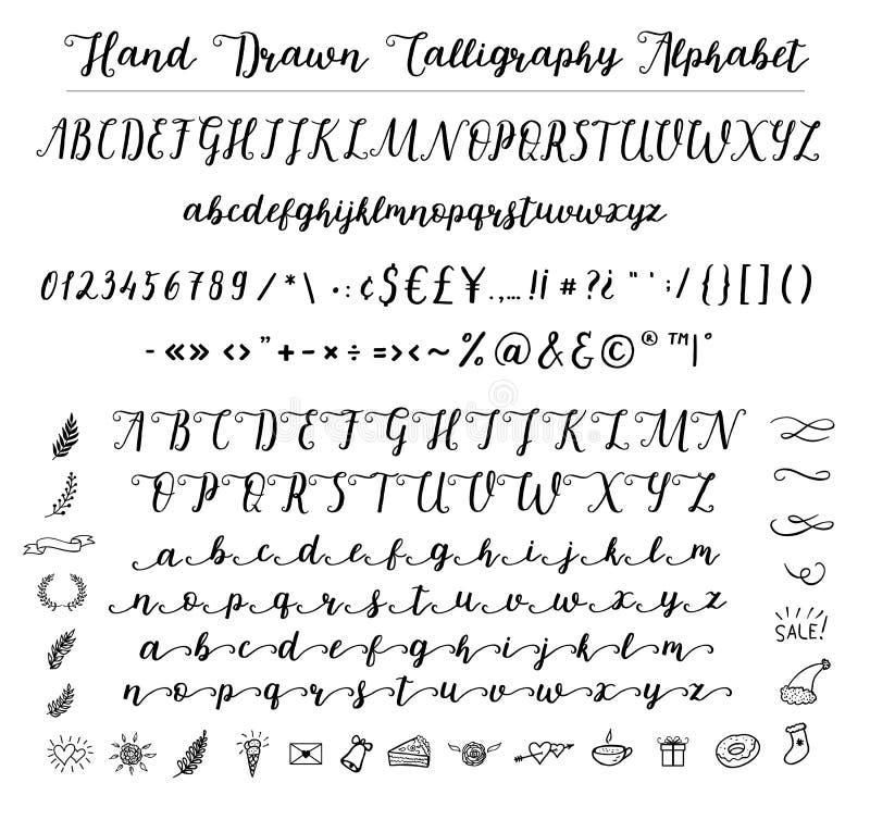 Alfabeto da fonte do roteiro escrito com uma escova ilustração royalty free