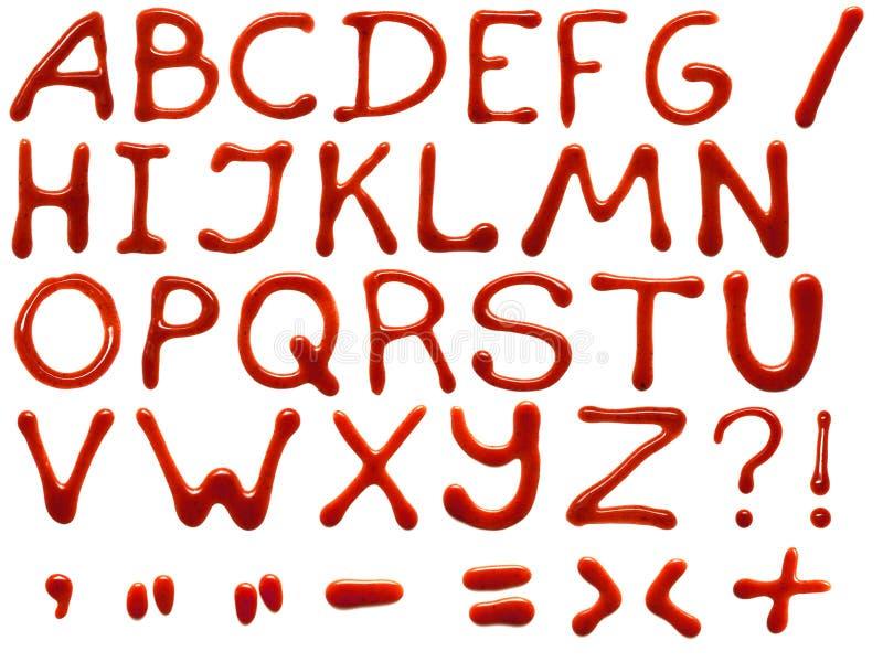 Alfabeto da ketchup ilustração do vetor