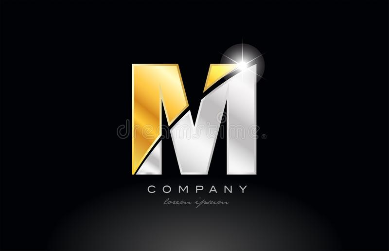 alfabeto da letra M com metal cinzento de prata do ouro no logotipo preto do fundo ilustração royalty free