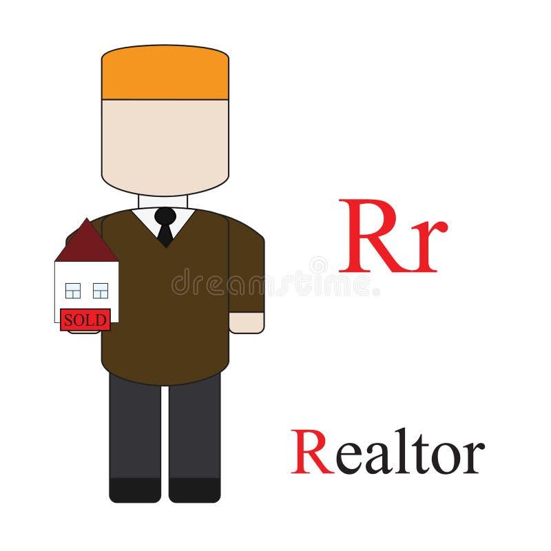 Alfabeto da letra R das profissões ilustração royalty free