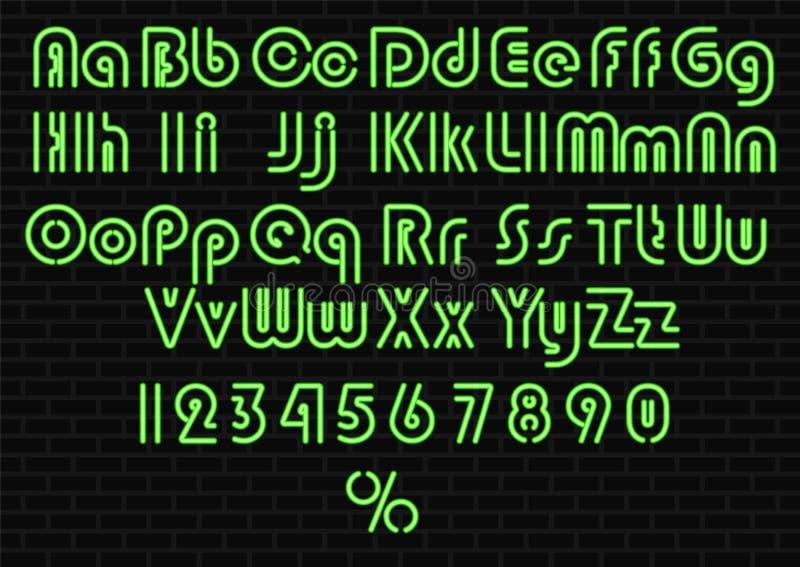 Alfabeto da luz de néon ilustração stock