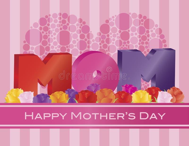 Alfabeto da MAMÃ do dia de mães com ilustração do cartão das rosas ilustração stock