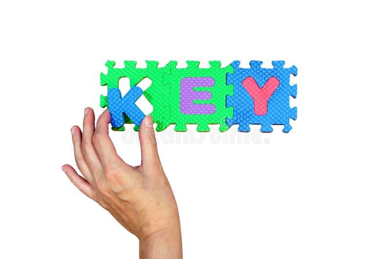 Alfabeto da posse K das mulheres posto a seu furo para a palavra chave com sucesso imagens de stock
