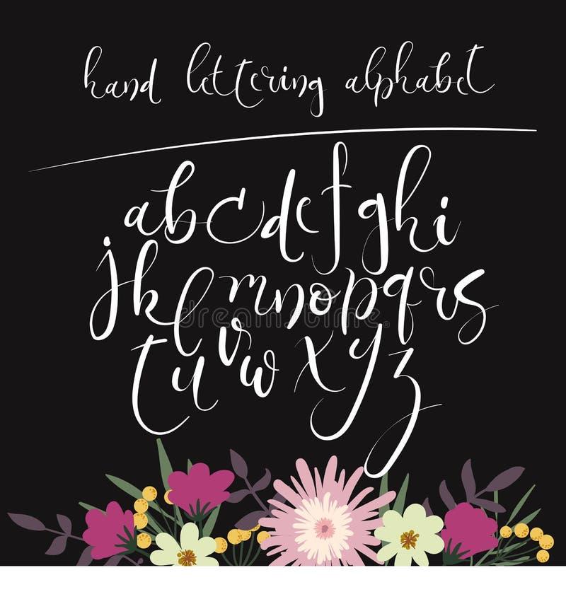 Alfabeto da rotulação da mão Letras desenhadas mão Fonte moderna da caligrafia Vetor ilustração royalty free