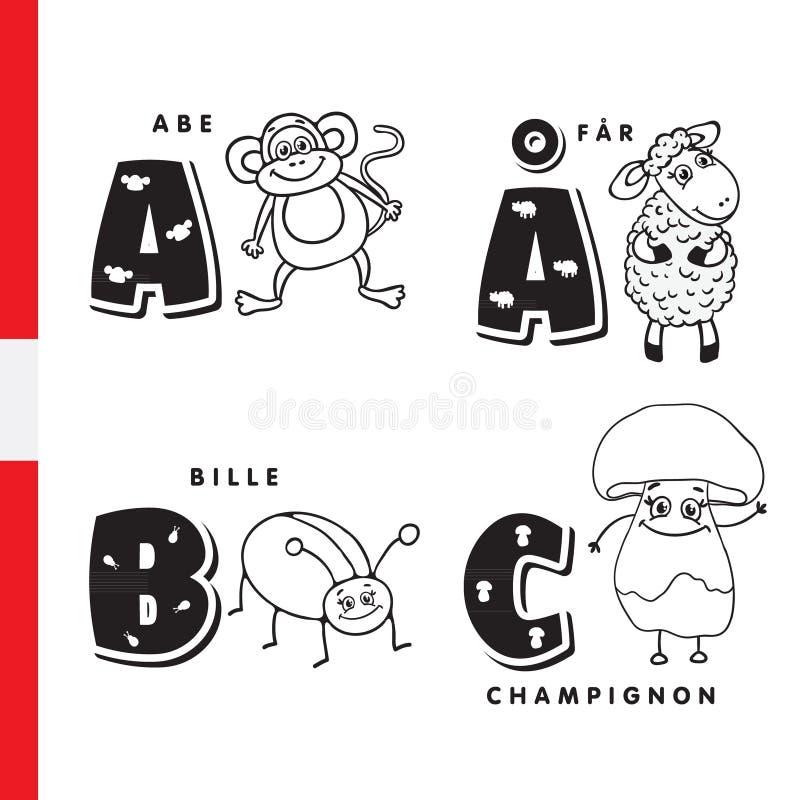 Alfabeto danese Scimmia, pecora, scarabeo, fungo Lettere e caratteri di vettore illustrazione vettoriale