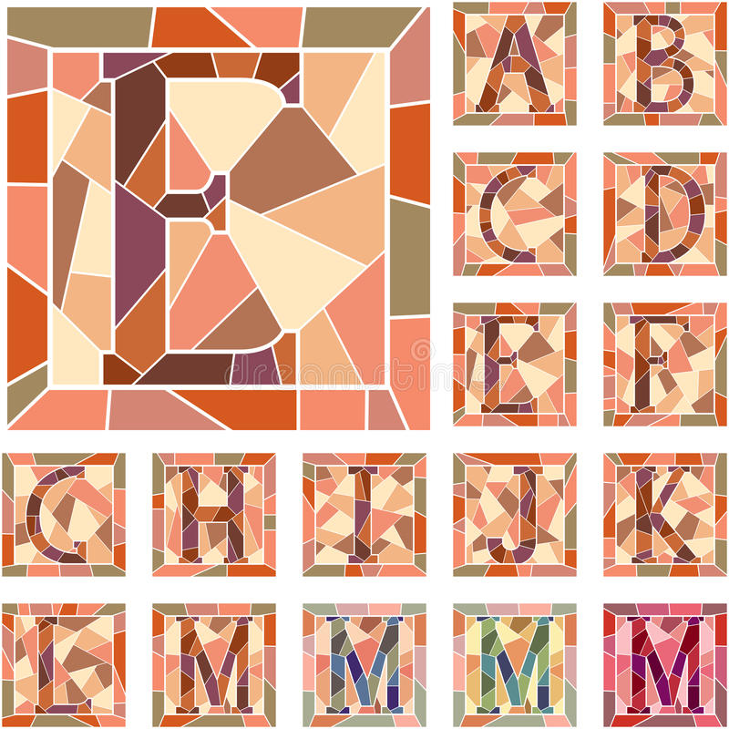 Alfabeto das letras de capital do mosaico. ilustração royalty free