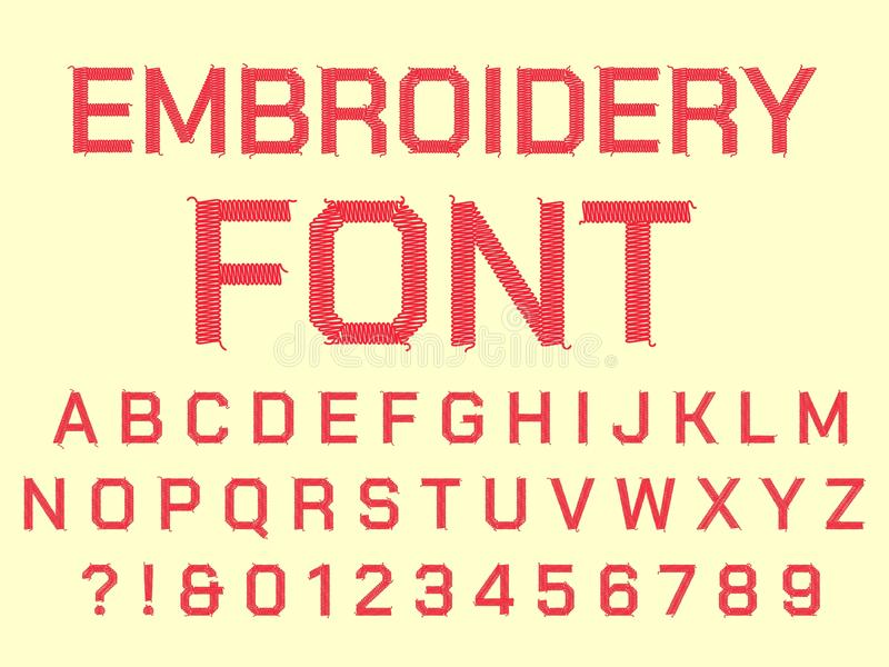 Alfabeto de costura del bordado Las letras, la fuente de la materia textil del vintage y las telas bordadas tela cosen vector de  stock de ilustración
