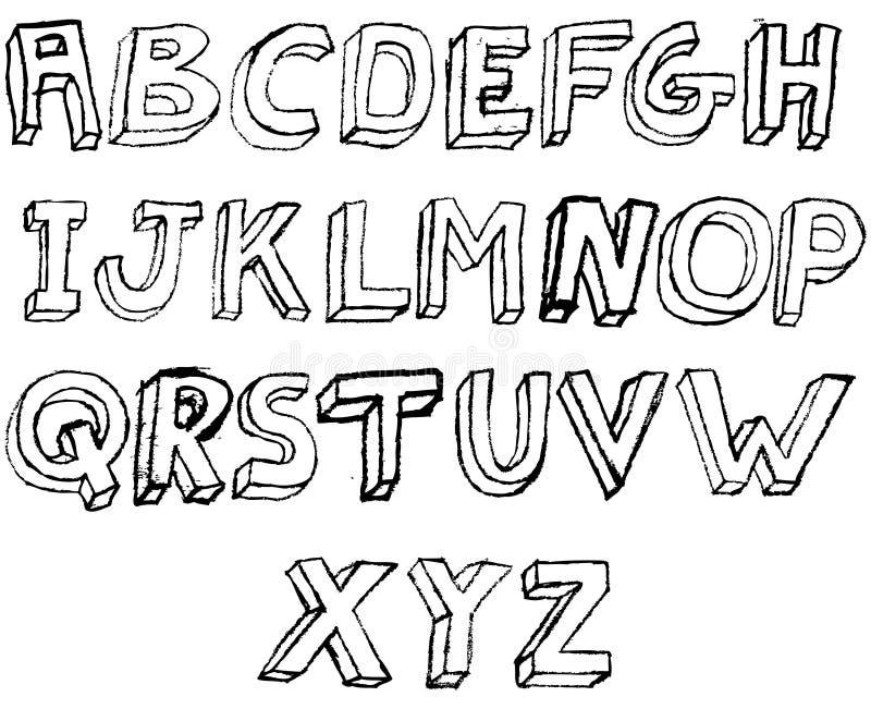 Alfabeto de Grunge 3D em preto e branco ilustração do vetor