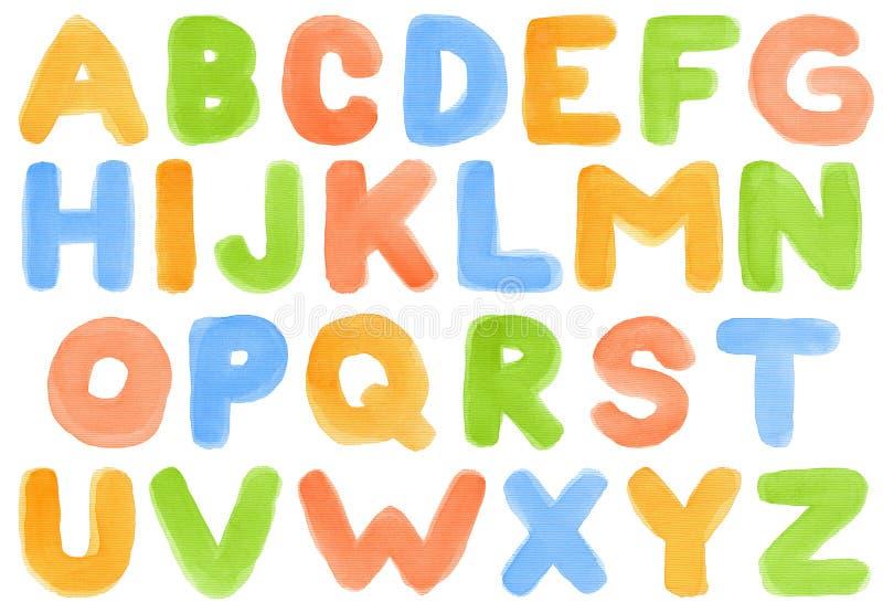 Alfabeto de la acuarela ilustración del vector