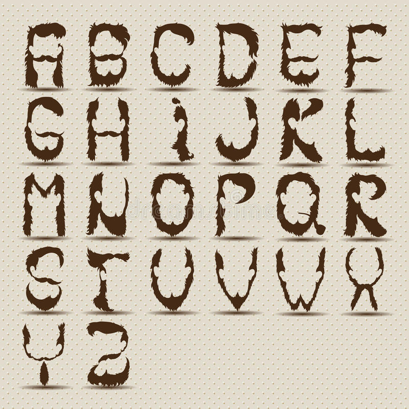 Alfabeto de la barba fotografía de archivo