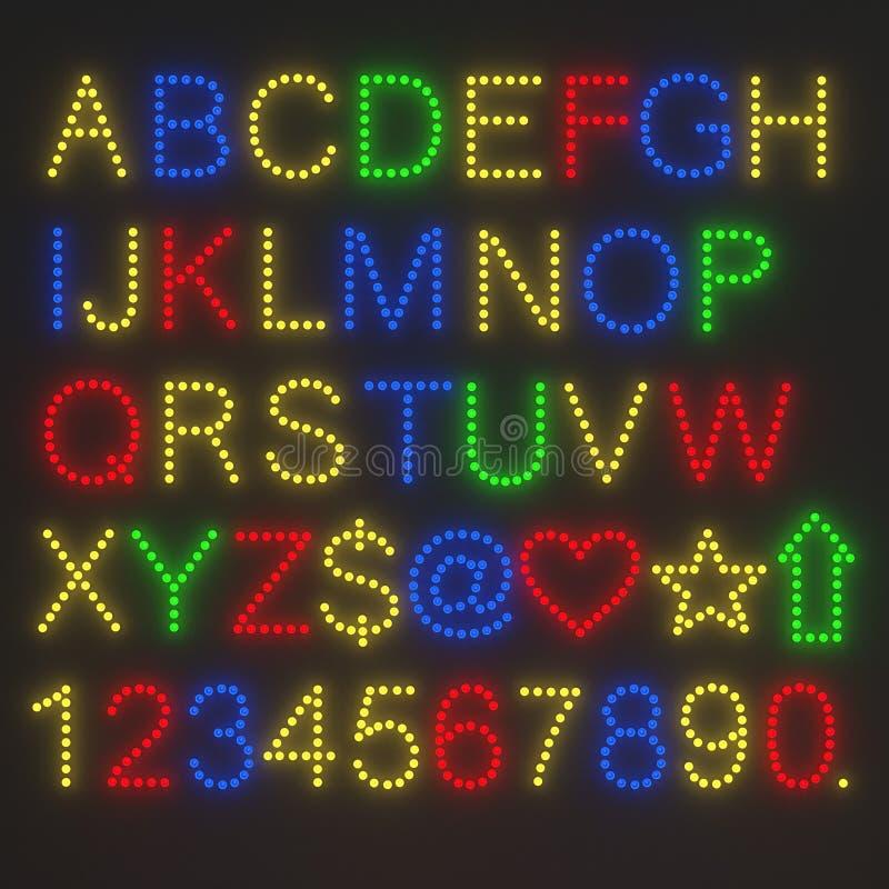 Alfabeto de la bombilla ilustración del vector