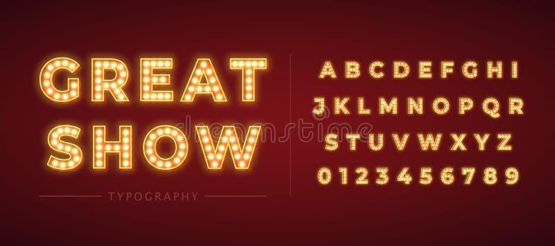 alfabeto de la bombilla 3d con el marco del oro aislado en fondo rojo oscuro ilustración del vector