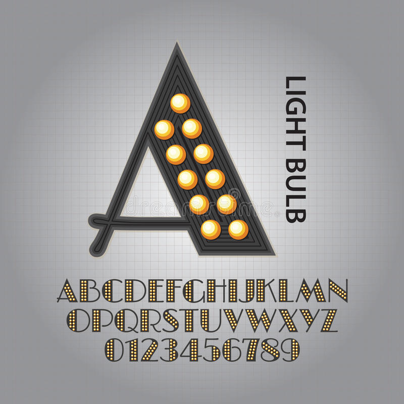 Alfabeto de la bombilla y vector negros de los números stock de ilustración