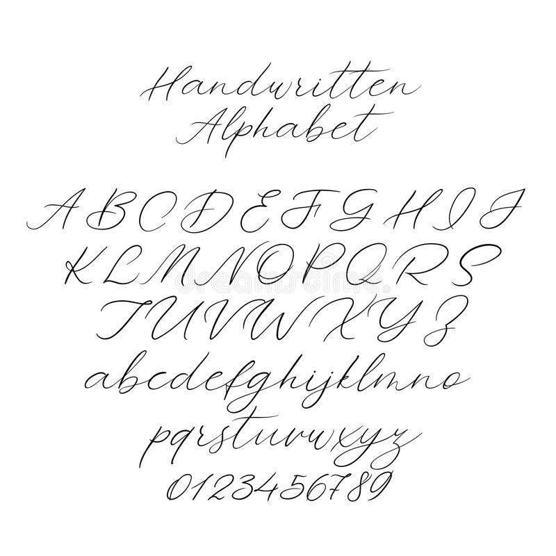 Alfabeto de la caligrafía del vector Letras exclusivas Fuente manuscrita decorativa del cepillo para casarse el monograma, logoti libre illustration